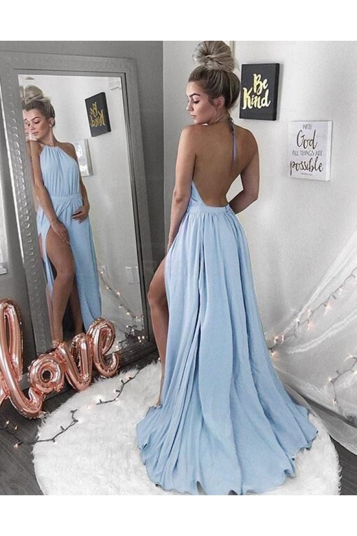 Sexy Halter Backless Long Prom Evening Formal Dresses 3021553