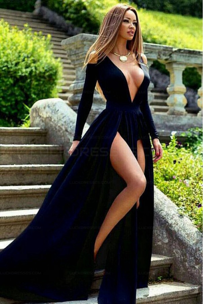 Sexy Deep V-Neck Long Sleeves Prom Evening Formal Dresses with High Slits 3021554