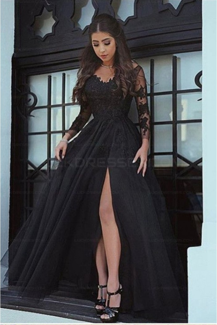 Long Sleeves V-Neck Lace Prom Evening Formal Dresses 3021557