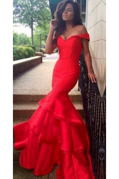 Long Red Off-the-Shoulder Prom Evening Formal Dresses 3020156