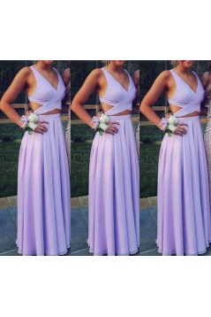 Two Pieces V-Neck Chiffon Long Prom Evening Formal Dresses 3021565