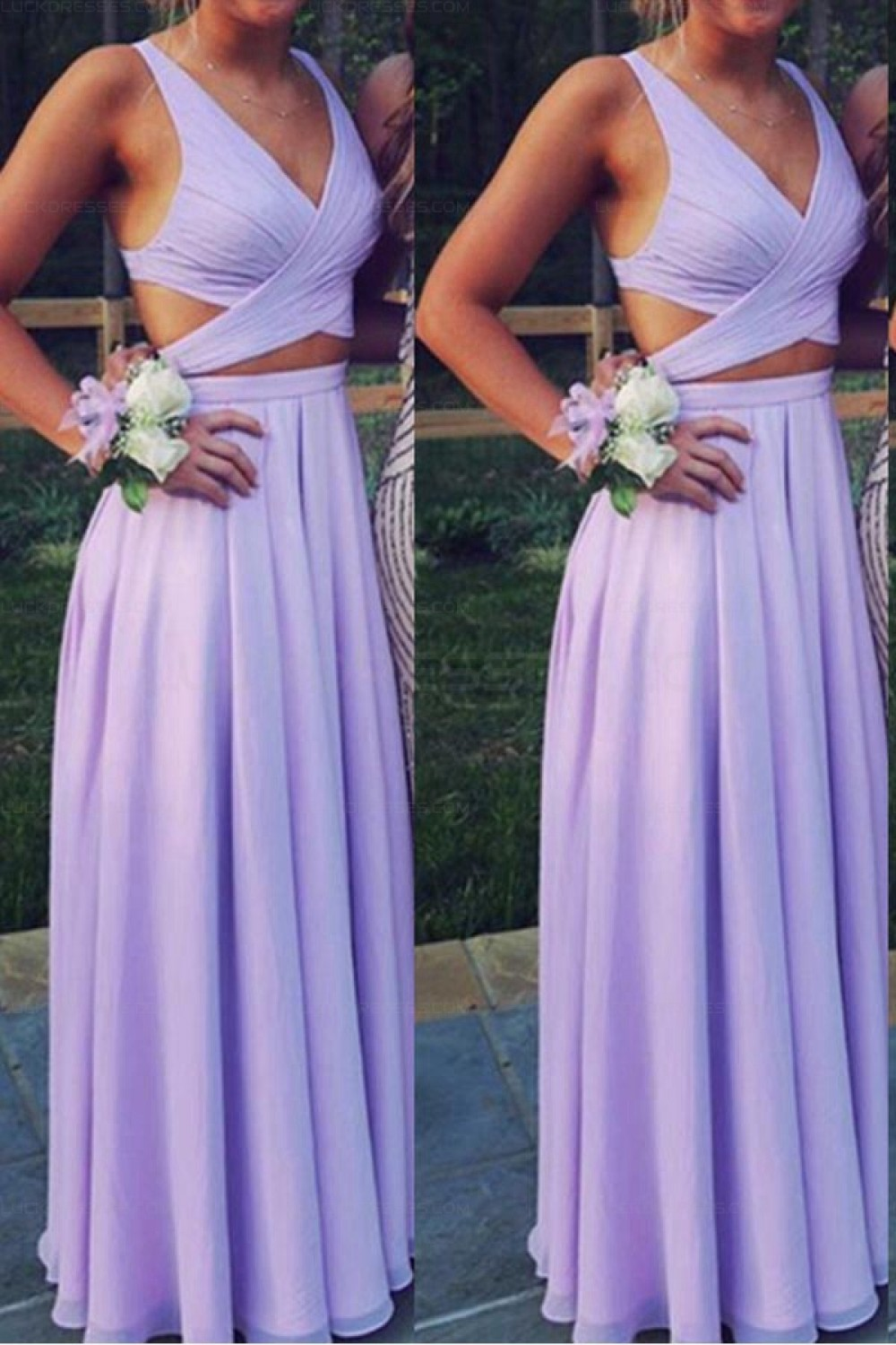 Two Pieces V-Neck Chiffon Long Prom Evening Formal Dresses ...