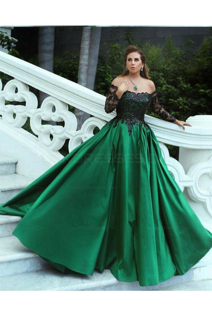 Ball Gown Long Sleeves Lace Satin Prom Evening Formal Dresses 3021566