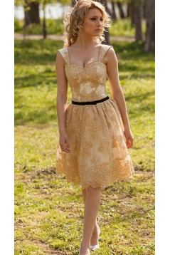 Short Lace Appliques Knee Length Homecoming Party Prom Dresses 3021568