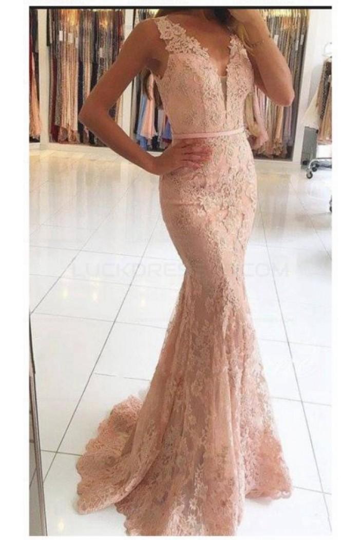 Mermaid V-Neck Lace Long Prom Evening Formal Dresses 3021570
