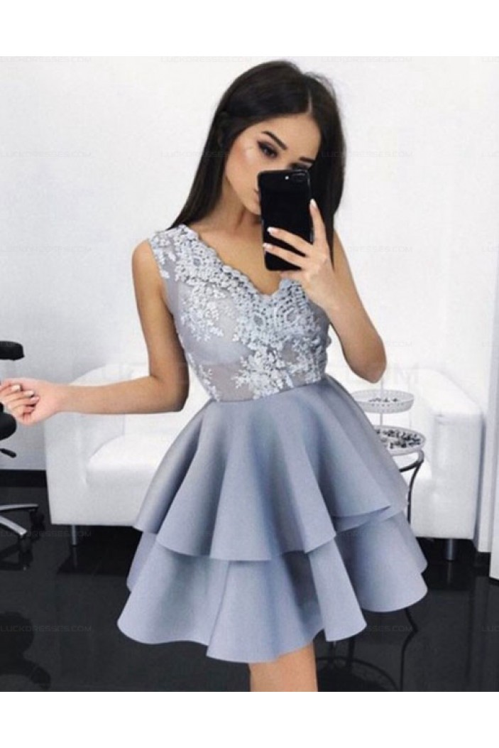 Short V-Neck Lace Homecoming Cocktail Prom Evening Dresses 3021573