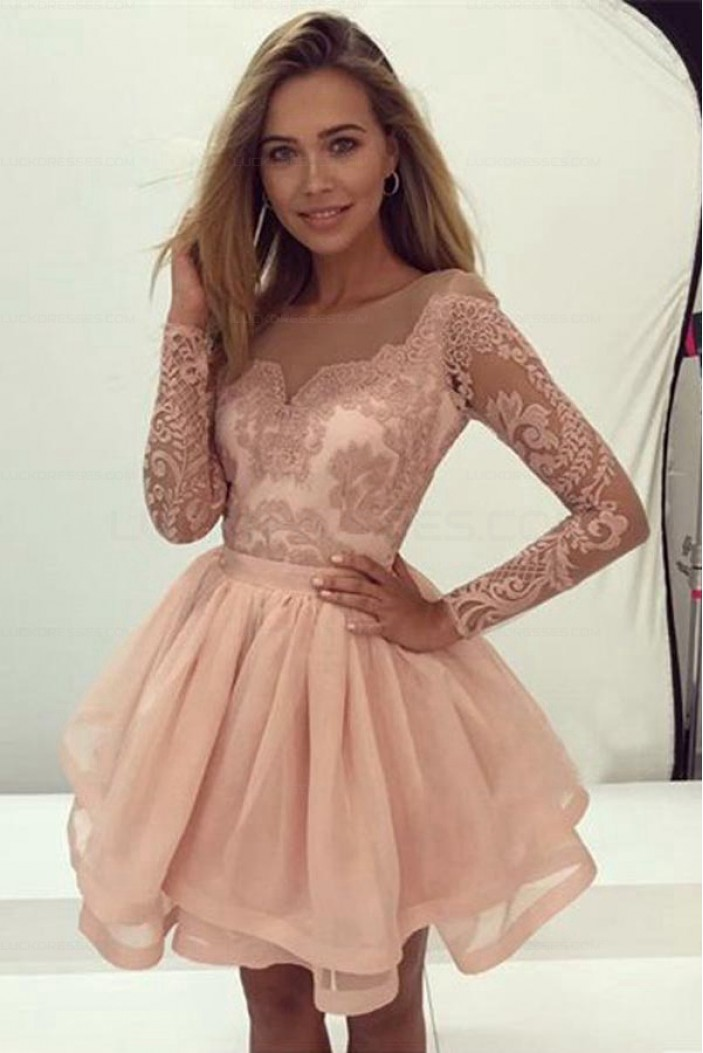 Short Lace Long Sleeves Prom Evening Party Dresses 3021578