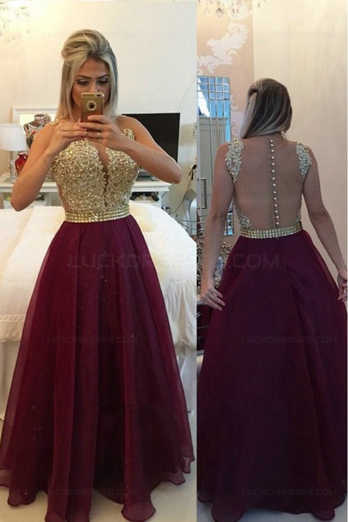Gold Purple Beaded Appliques Top See Through Back Long Prom Evening Formal Dresses 3020158
