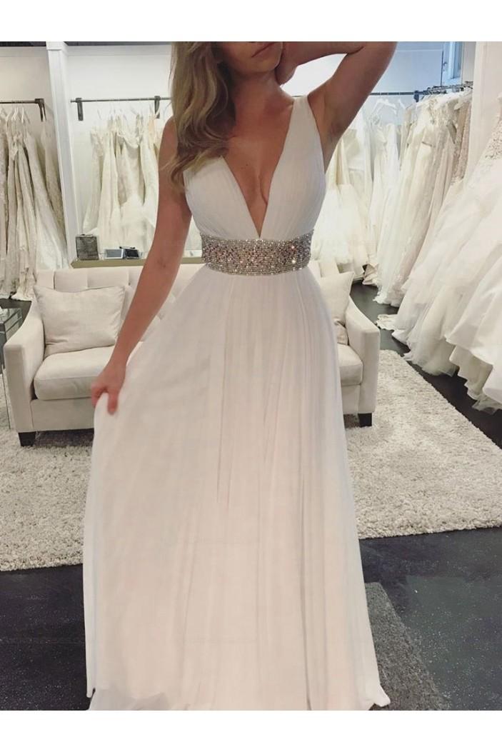 Deep V-Neck Beaded Long Prom Evening Party Dresses 3021581