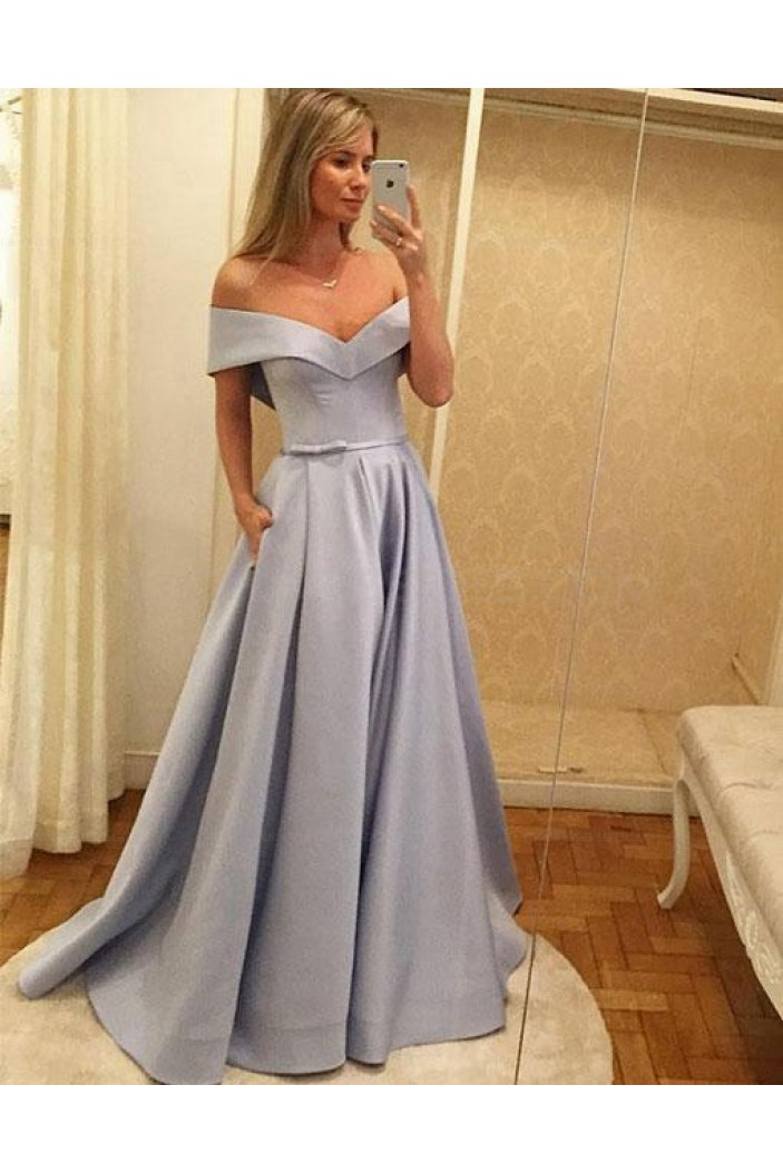 A-Line Off-the-Shoulder Long Prom Evening Party Dresses 3021582
