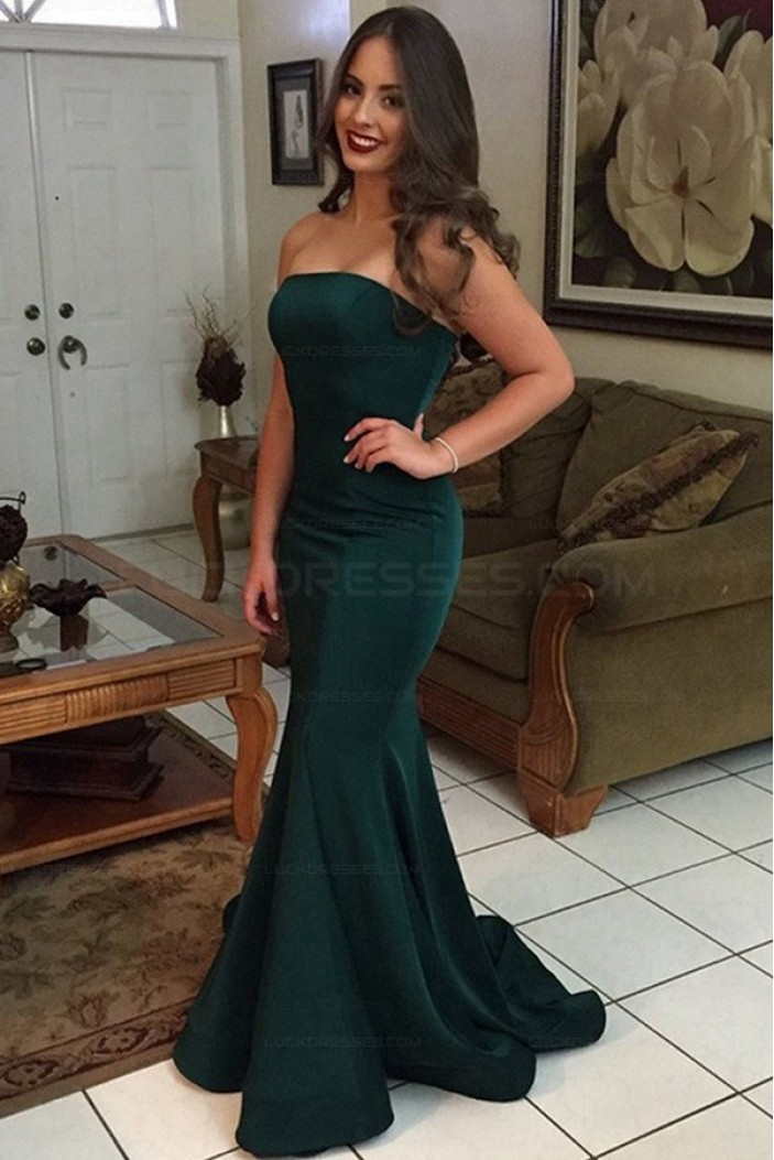 Mermaid Strapless Long Prom Evening Party Dresses 3021585