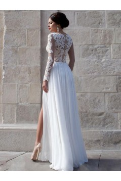 Long See Through Sleeves Lace Top Chiffon White Prom Evening Formal Dresses 3020159