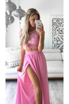 Two Pieces Lace See Through Top Chiffon Pink Prom Evening Formal Dresses 3020164