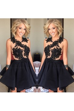 Black Lace Appliques Short Homecoming Cocktail Prom Evening Dresses 3020166