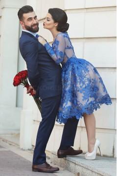 Blue Short Knee-Length Homecoming Prom Evening Formal Dresses 3020171