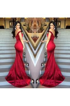 Elegant Red Long Off-the-Shoulder Prom Evening Formal Dresses 3020172