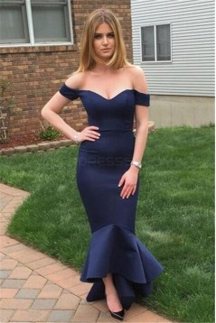 Mermaid Off-the-Shoulder Long Navy Blue Bridesmaid Prom Evening Formal Dresses 3020174