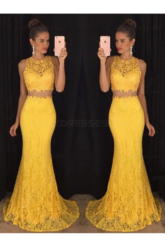 Two Pieces Yellow Lace Mermaid Long Prom Evening Formal Dresses 3020180