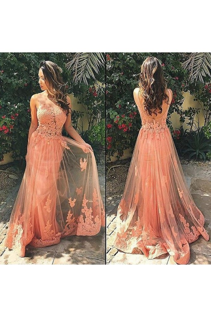 Sexy Lace Appliques Tulle Long Prom Dresses Evening Gowns 3020182