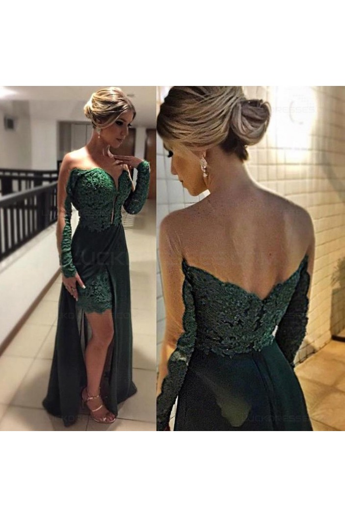 Lace Long Sleeves Long Prom Evening Formal Dresses 3020184
