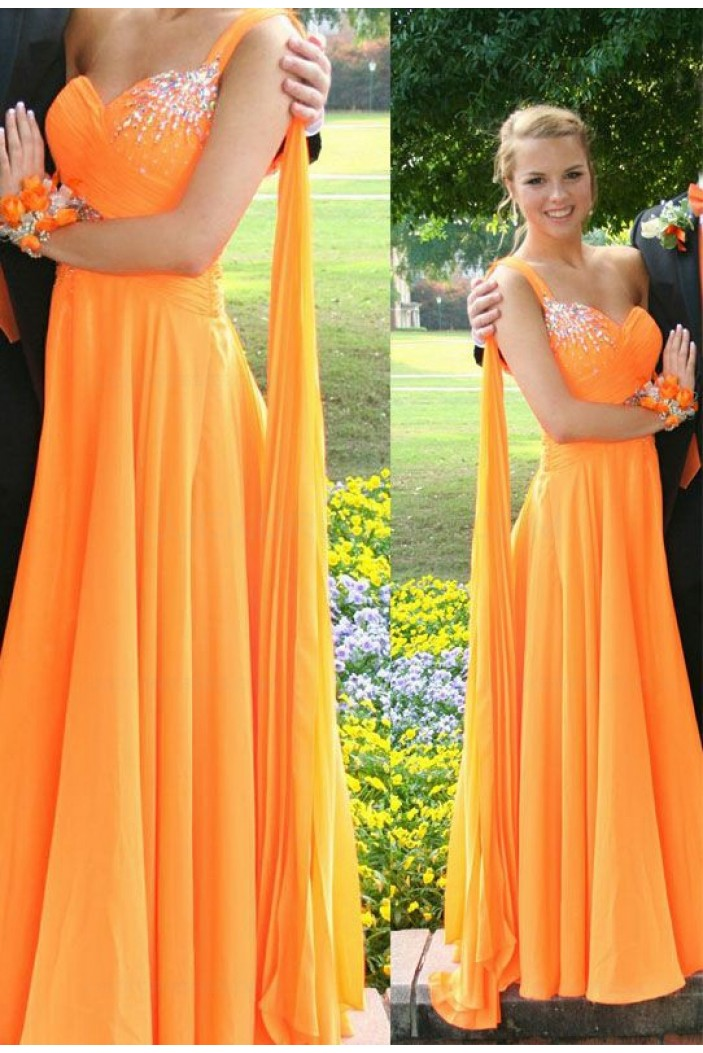 A-Line Beaded One-Shoulder Long Chiffon Prom Evening Formal Dresses 3020186