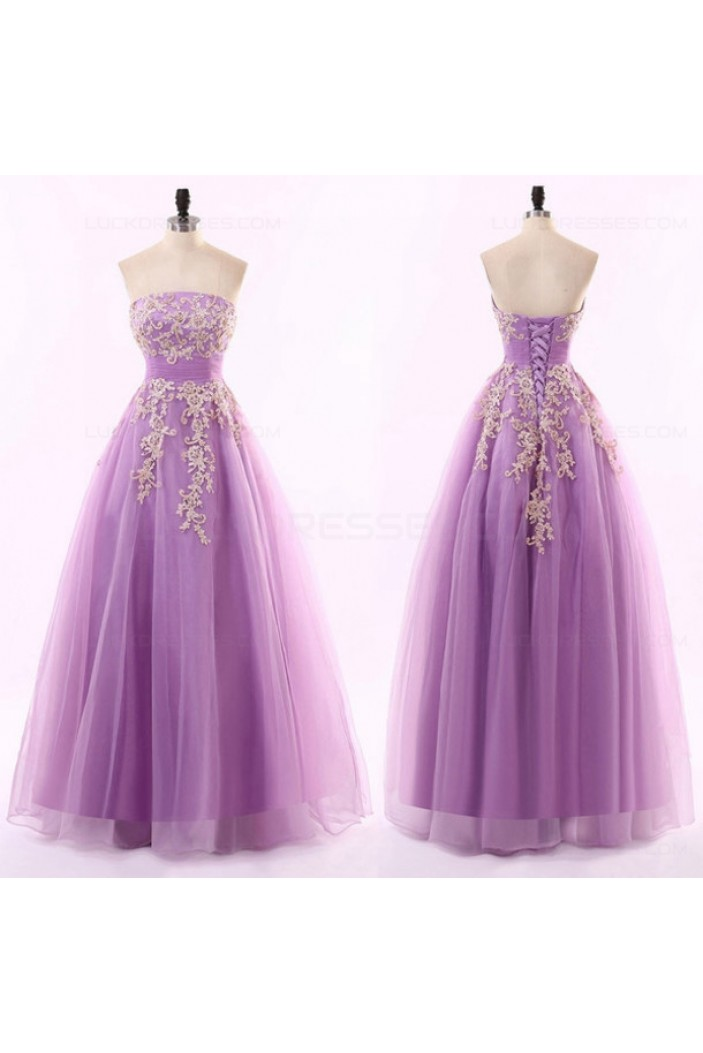 A-Line Strapless Lilac Long Prom Evening Formal Dresses 3020187