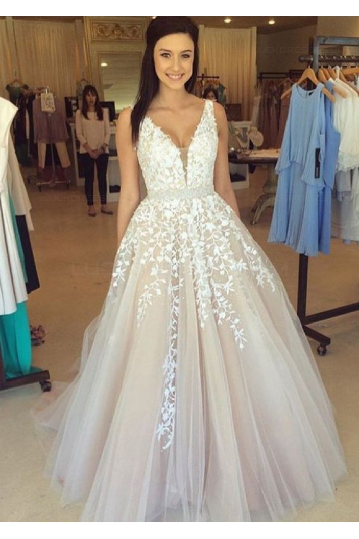 A-Line Straps Sleeveless Long Prom Evening Formal Dresses 3020190
