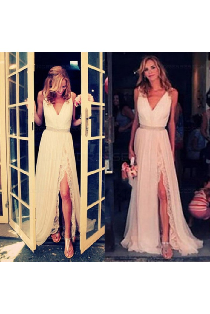 Sheath/Column V-Neck Front Split Lace Chiffon Prom Evening Formal Dresses 3020191