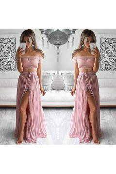 Two Piece Prom Dresses Lace Top Off-the-Shoulder Short Sleeves Thigh-High Slit Sexy Evening Gowns 3020192