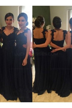 Navy Blue Lace Appliques Chiffon Long Bridesmaid Dresses Prom Evening Gowns 3020198