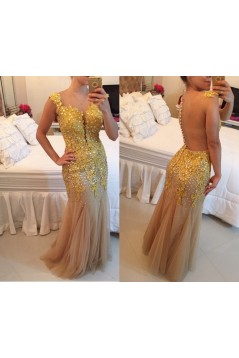 God Lace Appliques See Through Back Long Prom Dresses Evening Gowns 3020201