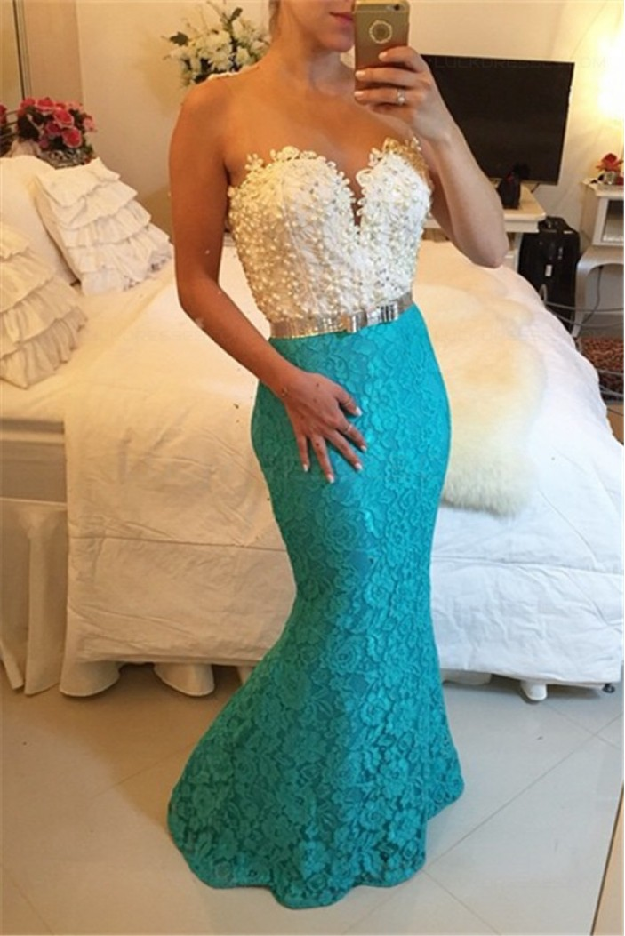 Blue White Lace Long Mermaid Prom Dresses Evening Gowns 3020202