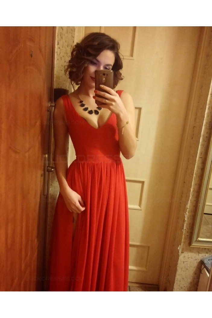 V-Neck Straps Sleeveless Long Red Chiffon Bridesmaid Prom Dresses Evening Gowns 3020205