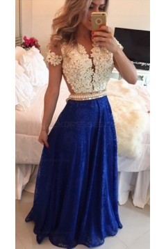 A-Line Short Sleeves Lace Chiffon Royal Blue White Long Prom Dresses Evening Gowns 3020206
