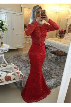 Red Long Sleeves Lace Mermaid Prom Dresses Evening Gowns 3020207