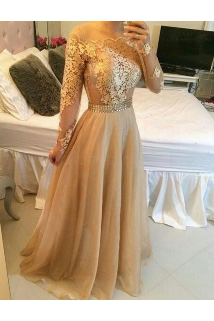 Long Sleeves Off-the-Shoulder Lace Chiffon Prom Dresses Evening Gowns 3020209