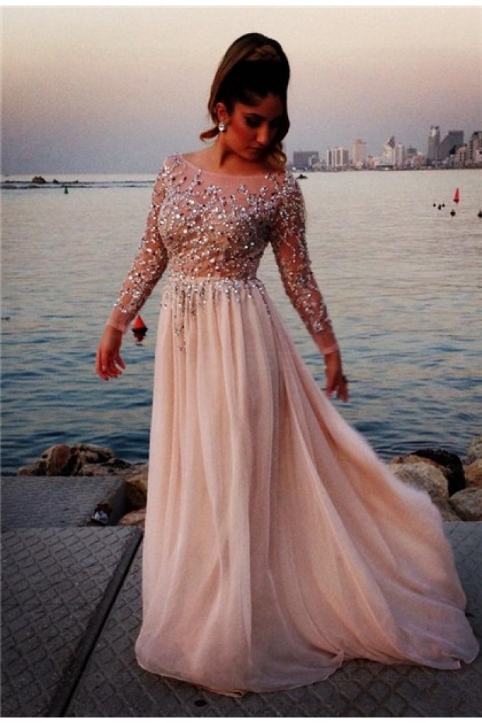 Beaded Long Sleeves Chiffon Prom Dresses Evening Gowns 3020210