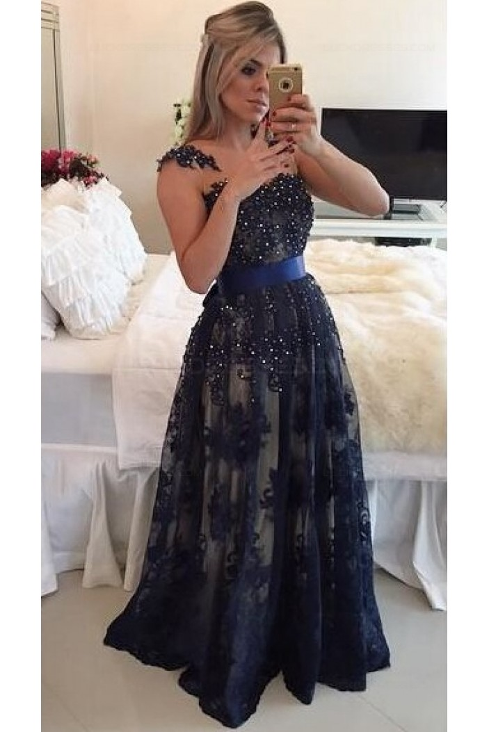 Elegant Beaded Lace Appliques Long Prom Dresses Evening Gowns 3020217