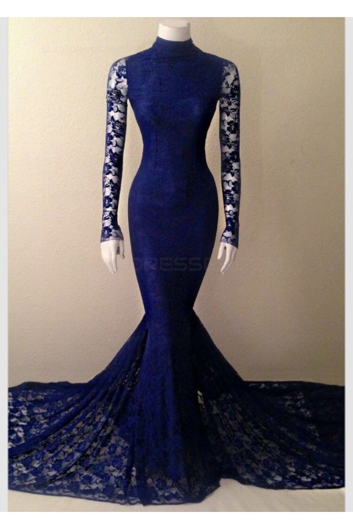Long Sleeves High Neck Lace Mermaid Prom Dresses Evening Gowns 3020218