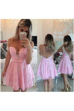 Short Sleeves See Through Pink Sexy Homecoming Prom Dresses Evening Gowns 3020219