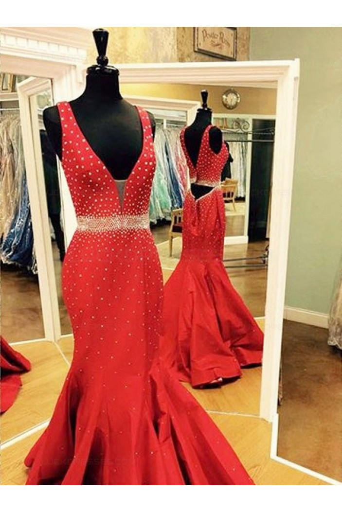 Long Red Beaded Trumpet/Mermaid Prom Dresses Evening Gowns 3020220