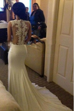 Mermaid Long White Illusion Neckline Lace Prom Dresses Evening Gowns 3020221