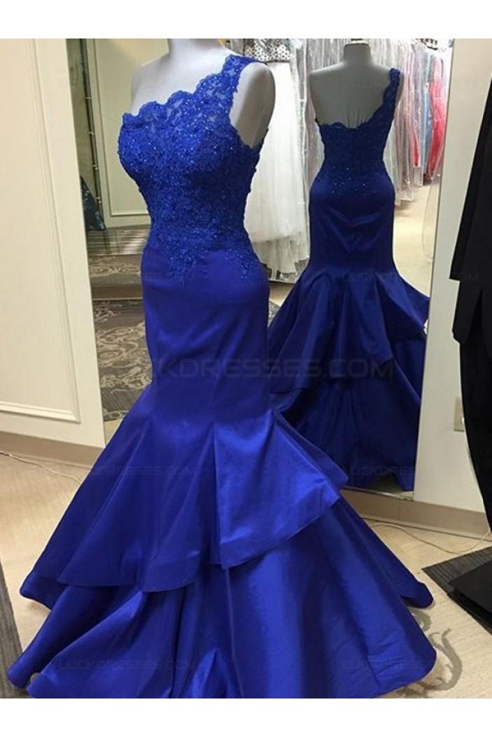 Trumpet/Mermaid Royal Blue One-Shoulder Lace Appliques Top Long Prom Dresses Evening Gowns 3020222