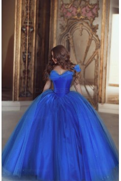 Ball Gown Off-the-Shoulder Blue Prom Dresses Evening Gowns 3020224