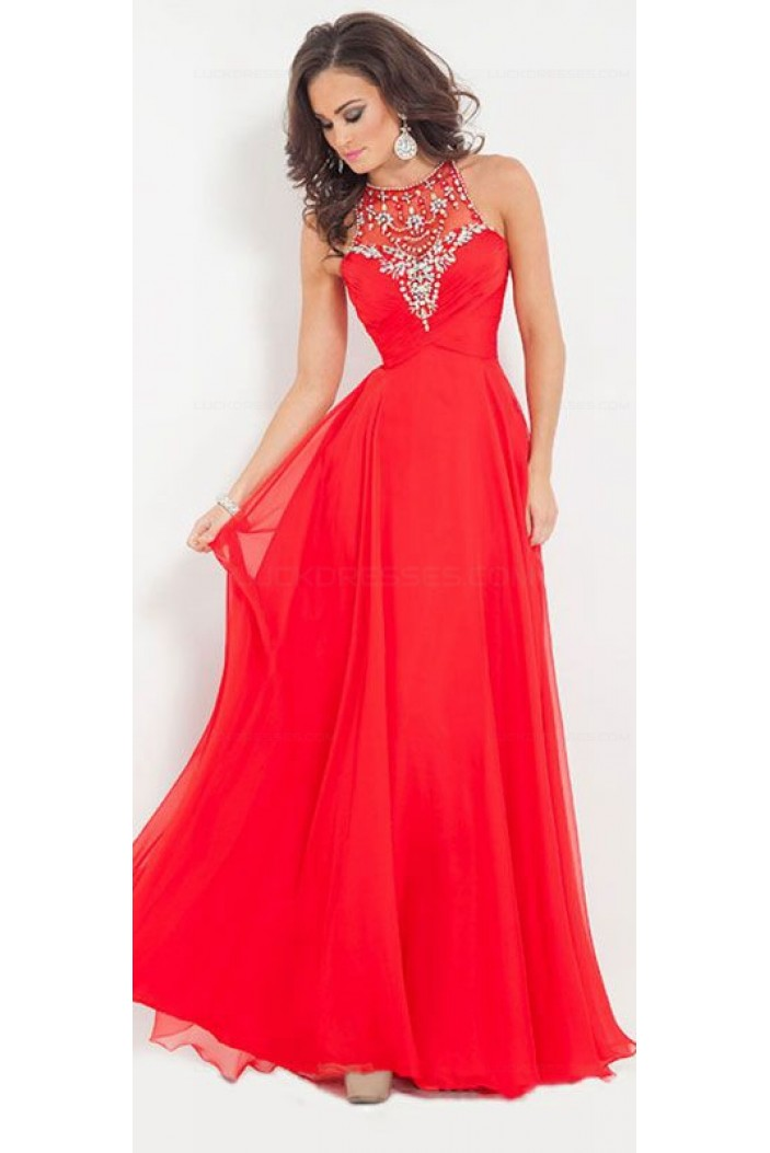 Beaded Long Red Chiffon Floor-Length Prom Dresses Evening Gowns 3020225