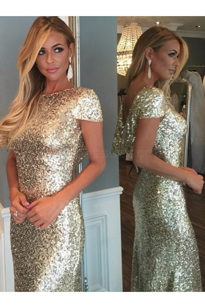 Gold Sequins Long Bridesmaid Prom Dresses Evening Gowns 3020226
