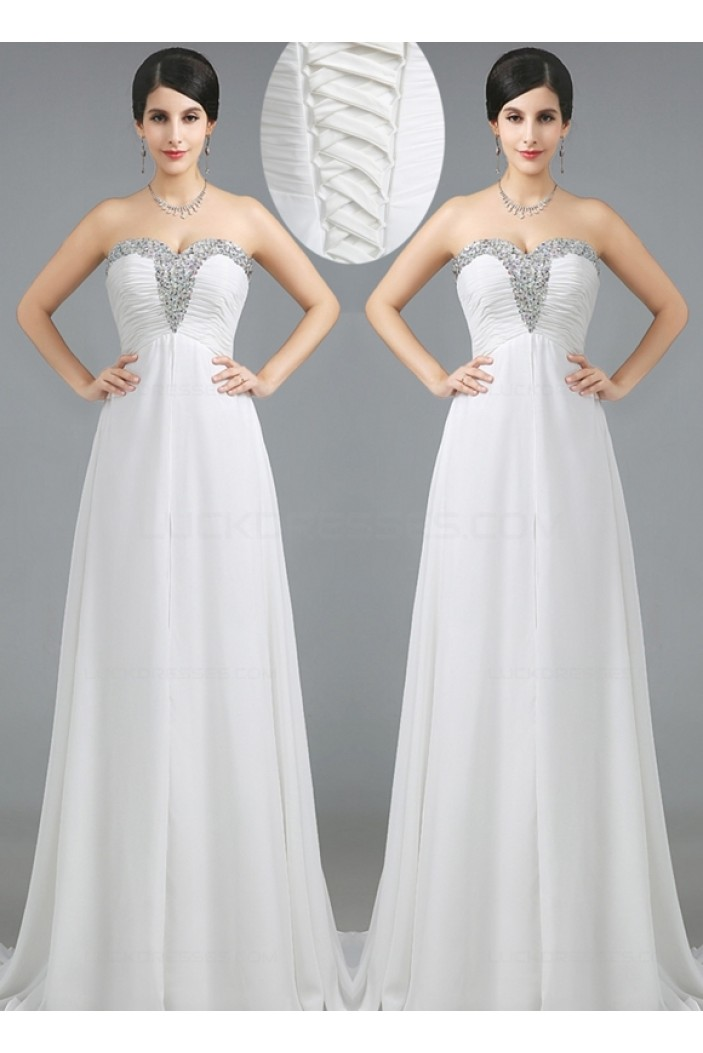 A-Line Sweetheart Beaded Long White Prom Dresses Evening Gowns 3020230