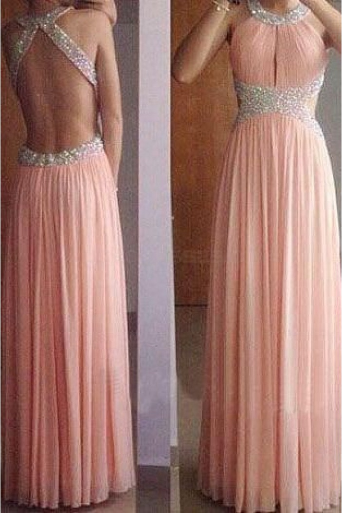 Sheath/Column Beaded Long Pink Prom Dresses Evening Gowns 3020231
