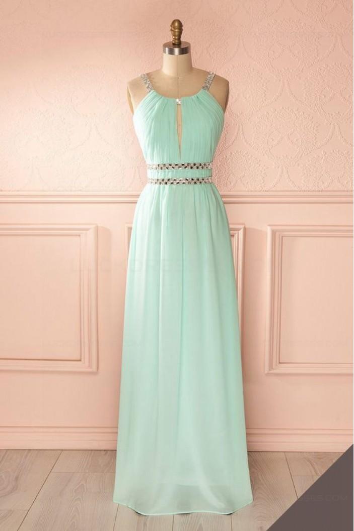 Sheath/Column Beaded Long Mint Green Prom Dresses Evening Gowns 3020232