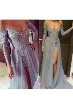 Grey Lace Long Sleeves Off-the-Shoulder Split Long Prom Dresses Evening Gowns 3020235